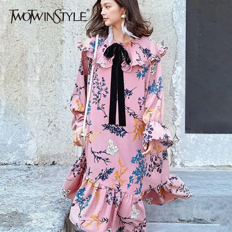 TWOTWINSTYLE Printed Dress Women Ruffles Bowknot Flare Sleeve Midi Dresses Female Oversize 2018 Autumn Fashion Vintage Clothing