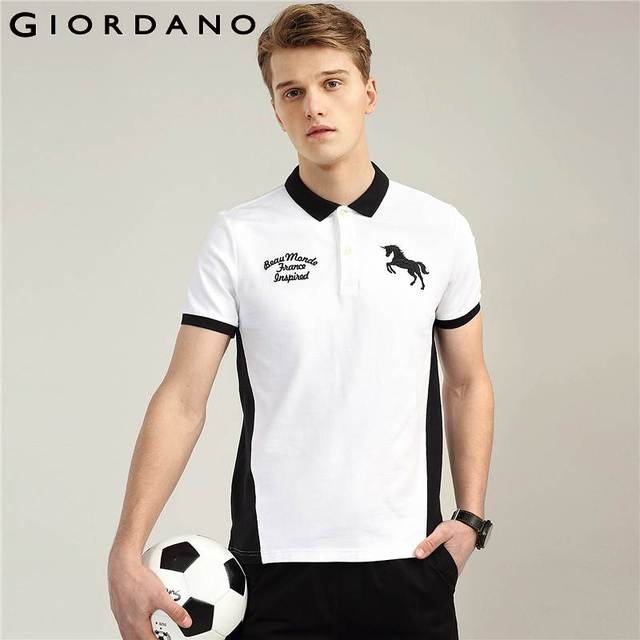 e06df5fea0 Giordano Men Polo Shirt Men Color Blocking Camisa Polo Slim Embroidery  Polos Pique Short Sleeves Fashion Stretchy Masculina