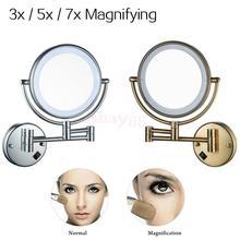 8′ Ванная комната зеркало для макияжа с светодиодный свет, настенное крепление 3x/5x/7x увеличением косметическое зеркало, chrome/бронза отделка-ЕС Plug