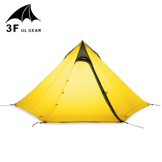 3F UL Gear Cangyuan3 Silicon Coating 2-3-person 3-Seasons Seam Sealed Pyramid Camping Tent No Poles High and Low Hanging Point