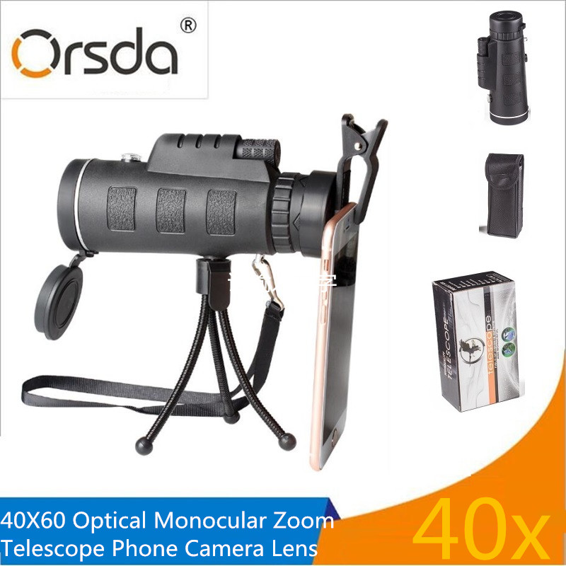 Orsda Universal 40X Optical Zoom Telescope Telephoto Mobile Phone Camera Lens For iPhone Samsung LG Android Smartphones lenses