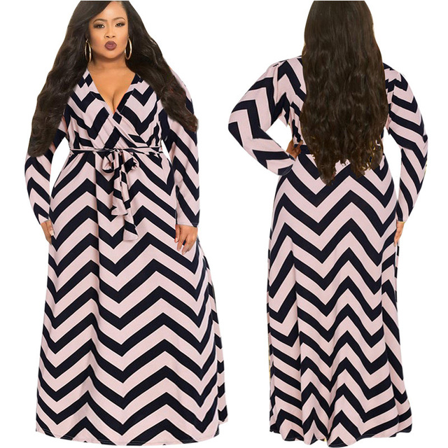 c12ca1a6ecd Femmes imprimer ondulation Robe grande taille Maxi robes à manches longues  profonde col en V ceintures Slim Fit Robe Robe pour dames pull 2019