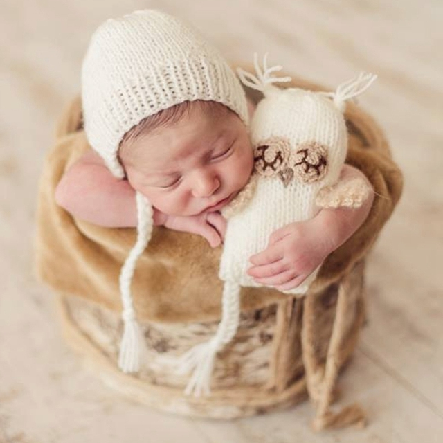 Newborn Baby Girls Boys Crochet Knit Costume Photography Prop Outfits Hats  Caps d75314cdb4cf