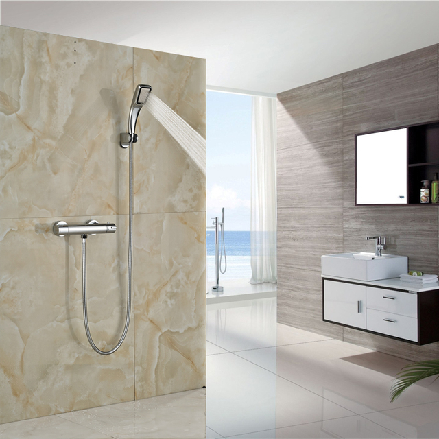 Awesome Best Quality Dual Handle Handheld Shower Mixer Faucet With Thermostatic Shower  Valve Chrome Finished