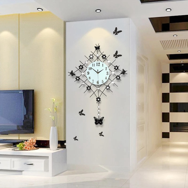 3D Big Swing Wall Clock Modern Design Decorative Wall Watches Living Room  20pcs Diamonds Wrought Iron