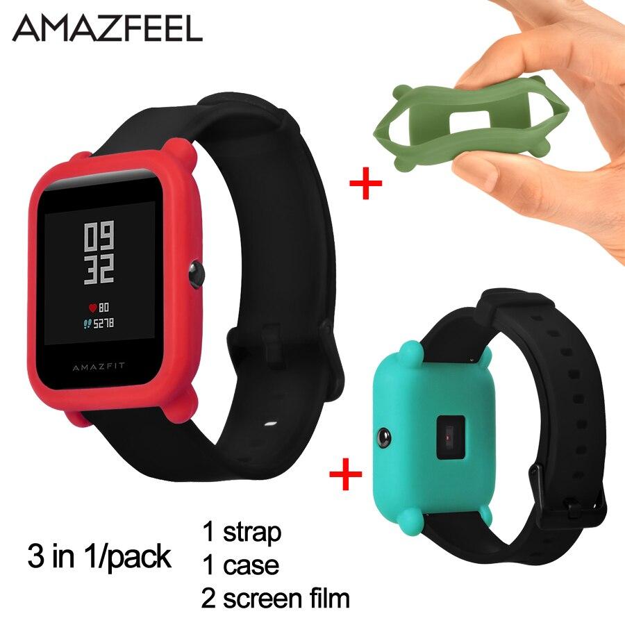 3 в 1/лот Amazfit Bip Молодежный спортивный ремешок для часов TUP силиконовый ремешок для Xiaomi Huami Amazifit Bip Молодежные часы защитный чехол