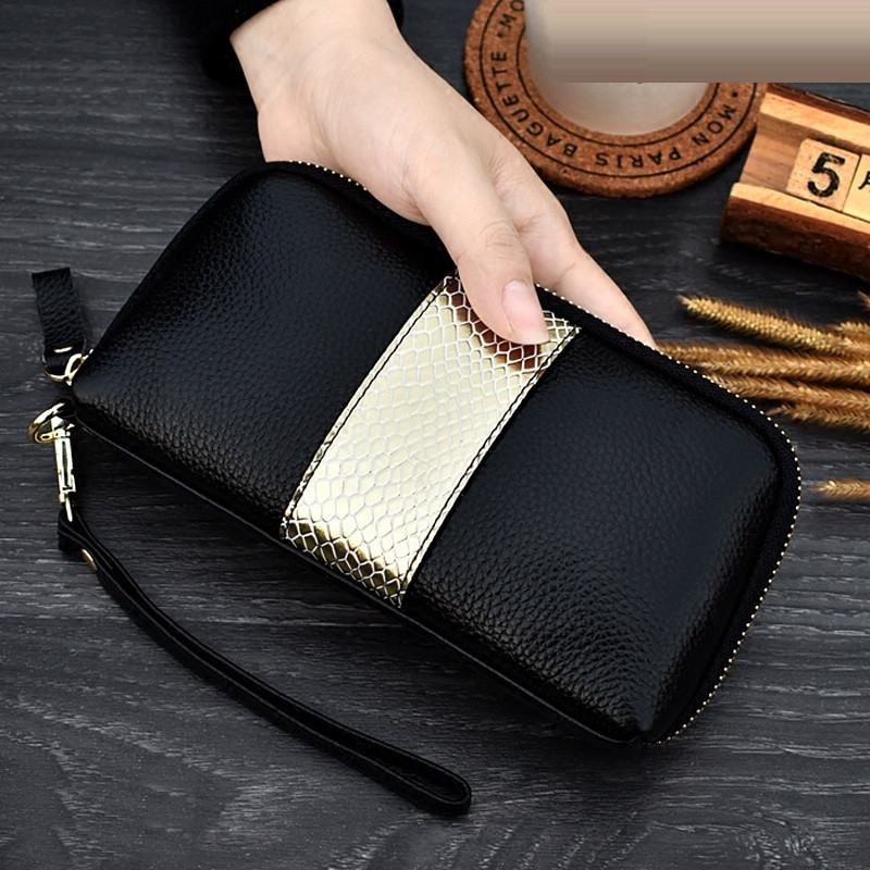 NIGEDU Ladies Genuine Leather Clutch Purses Panelled Long Women Wallet Zipper Wrist Bag Female Coin Purse Mobile Phone Bag Bolsa