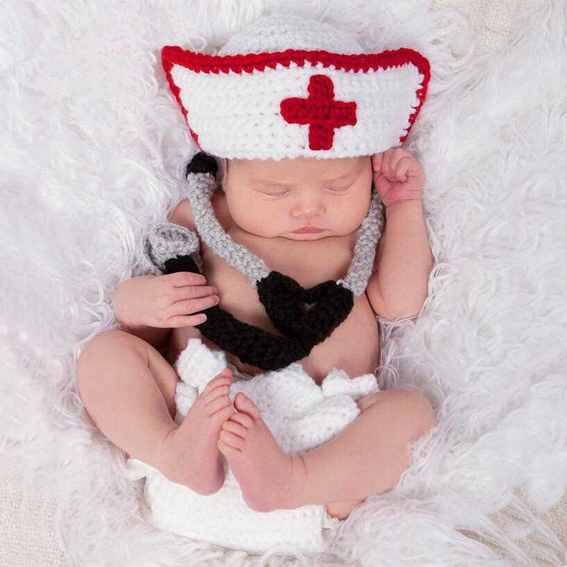Newborn Photography Props Baby Girl Accessories Baby Crochet Costume Infant Nurse Hat+pants+Stethoscope Outfits Baby Photo Props
