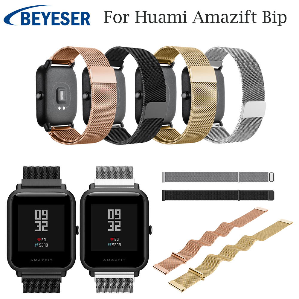 Metal Milanese Loop Band for Xiaomi Huami Amazfit Bip Youth strap 20MM wrist band belt for Huami Amazfit Bip Strap Steel Strap cool magic sticker canvas strap wrist band for huami amazfit bip youth watch fitness tracker fitness braceletdrop shopping