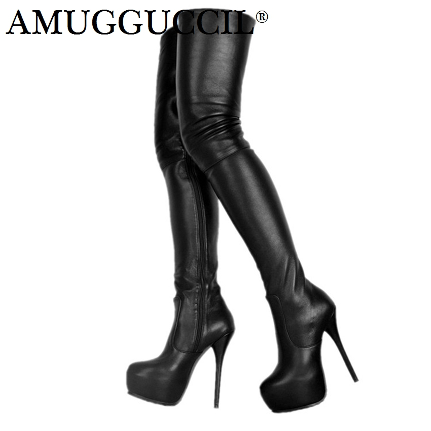 2019 New Plus Big Size 34-52 Black Zip Fashion Sexy Thigh High Heel Platform Over The Knee