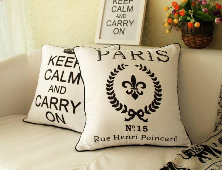 Kussen Wit 15 : Europese zwart wit kussenhoes engels letters frankrijk parijs