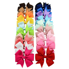 20pcs/lot 3 Inch Boutique Grosgrain Ribbon HairBow Kids Hairbows Girl Hair Bows With Clip Kids Hair Clips Hair Accessories 564