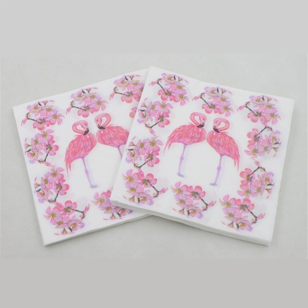 20 Stks Kleurrijke Flamingo Print Papier Servet Restaurant Hotel Vakantie Partij Decoratie Papieren Handdoek Verpakking Van Genomineerd Merk