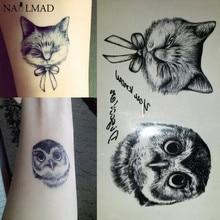 2pcs Temporary Tattoo Black Owl Waterproof Tattoo Cartoon Cat Paste Tattoo Decals Body Art Henna Tattoo Sticker X140