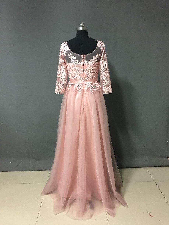 Alta Calidad Nude Rosa Largo Vestido de Fiesta de Manga Larga Raja ...