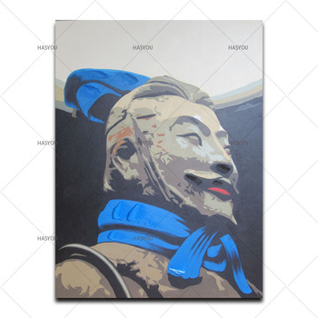 Qin Terra-Cotta Warriors and Horses Figurines pictures hand painted oil painting Excellent wall art For Living Room Decoration