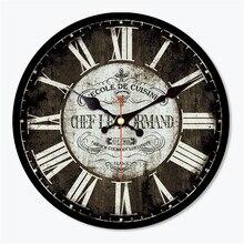 Antique Saat Vintage Round Wood Wall Clock Classical Horloge Murale Art Home Decoration Cool Orologio Da Parete Christmas Gift  цена в Москве и Питере