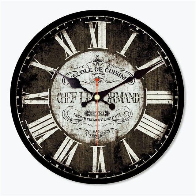 WONZOM Antique Saat Vintage Round Wood Wall Clock Classical Horloge Murale  Art Home Decoration Cool Orologio