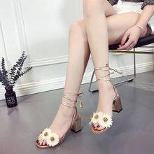 442111129b7c34 marguerite lace up gladiator sandals women open toe 3D flower thick heels  sandals woman tassel floral fringe beach sandalias