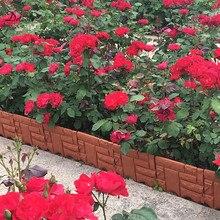 6Pcs Garden Brick Cement Fence Cement Stone Mold Concrete Flower Courtyard Lawn Mould Imitation stone plastic fence GT116