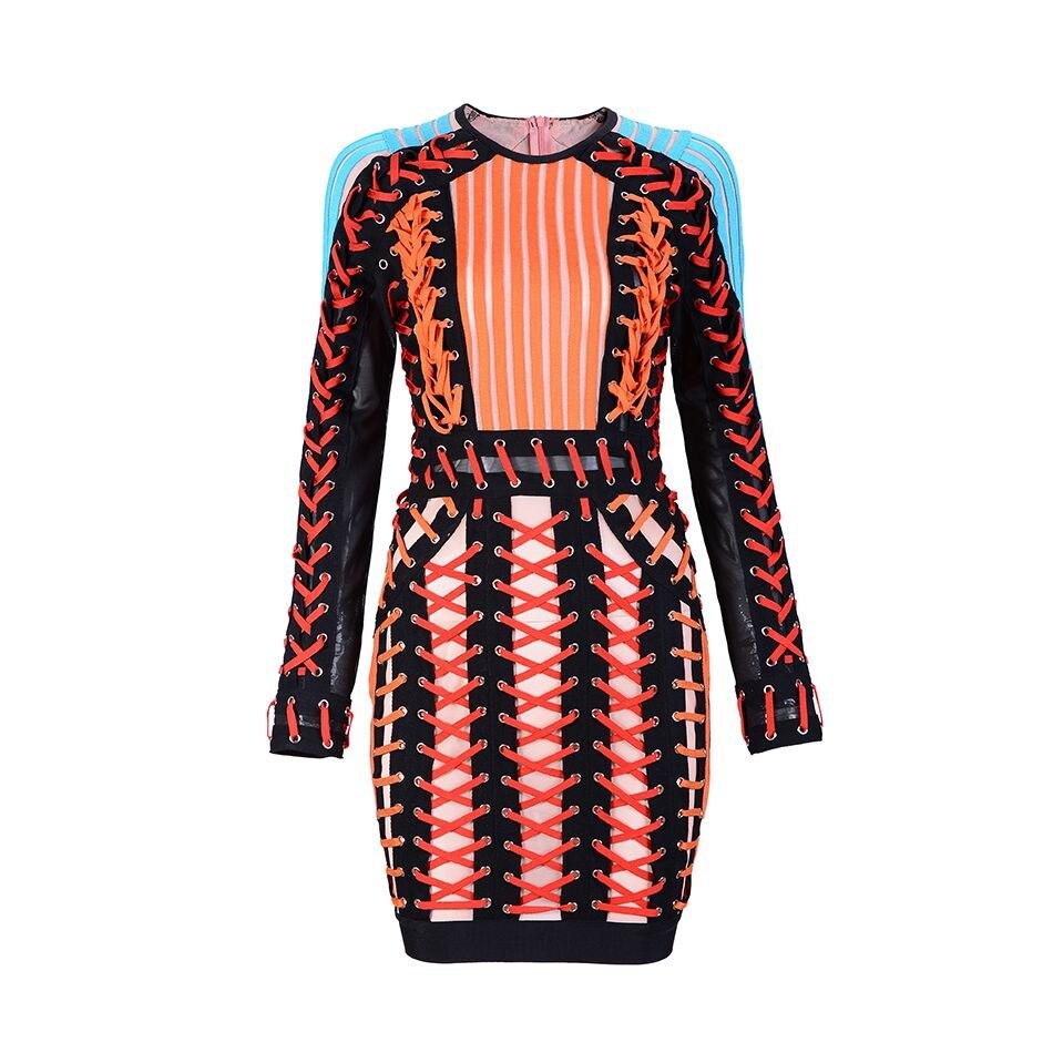 2018 Celebrity Runway Mesh Bandage Dress O neck Black Blue Long Sleeve Orange handmade Cross Winter Dress Women Party Dresses