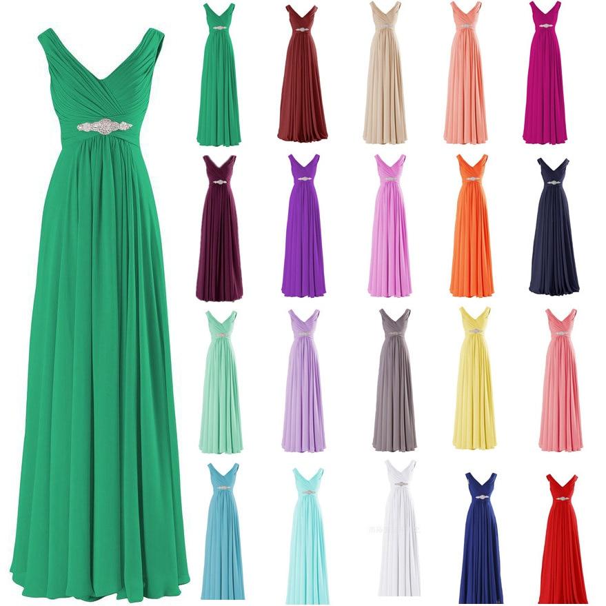 Stock Chiffon A Line V Neck Off Shoulder Diamonds Floor Length Bridesmaid Dresses Wedding Party Dresses  Robe De Soiree