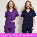 2016 Cotton Medical Scrub Sets Hospital Surgical Women Short Sleeve Medical Scrub Uniforms Set Dental Clinic Doctors' Clothing