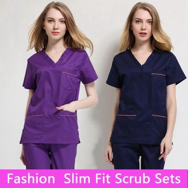 2017 Cotton Medical Scrub Sets Hospital Surgical Women Short Sleeve Medical Scrub Uniforms Set Dental Clinic Doctors' Clothing