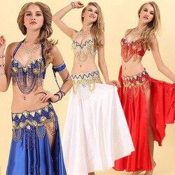 Costume de danse du ventre pour dames or rouge 2 pièces (soutien-gorge + ceinture) Costume femmes professionnel salle de bal féminin vêtements compétitifs DN2030