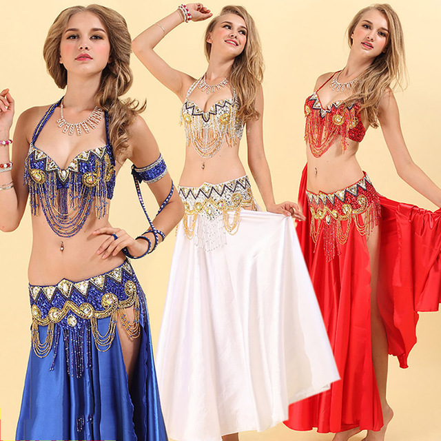 f7fe135a8b Fantasia Belly Dance Costume For Ladies Red Gold Bra+Belt Suit Women  Professional Ballroom Feminine Competitive Clothes DN2030