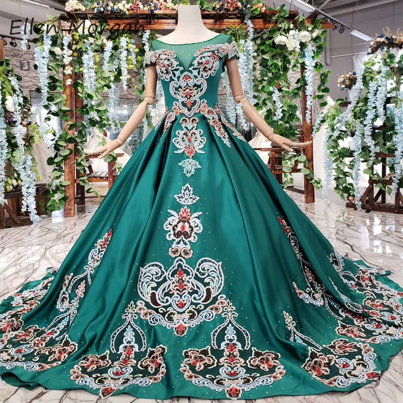 Saudi Arabian Colorful Green Evening Dresses Elegant Ball Gown Quinceanera Pageant For Miss Boat Neck Applique