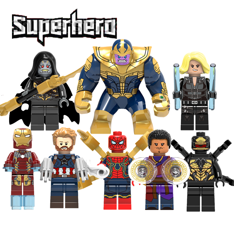 Super Heroes Legoingly Marvel Guardians Of The Galaxy Thanos Spider Man Iron Man Avengers 3 Infinity War Building Blocks Toys