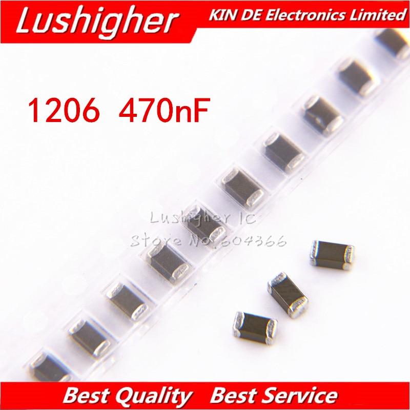 100pcs 1206 470nF 474K 0.47uf 250V X7R Error 10% SMD Ceramic Capacitor MLCC