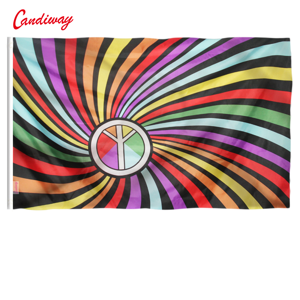 Hot Sale Rainbow Ring Flag 3X5 FT <font><b>90*150</b></font> Indoor Outdoor Polyester Gay Flag image