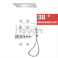 Luxury Bathroom Wall Mounted Shower Set With Thermostatic Control 5 Knobs 800 600cm Large Shower Head