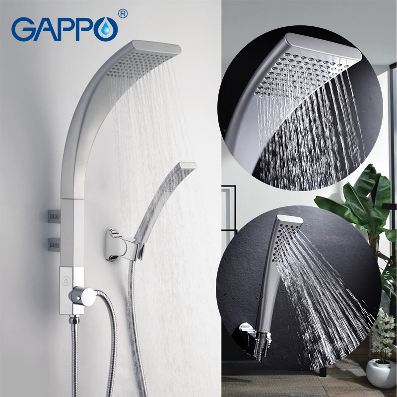 GAPPO shower system bath shower faucet rain Waterfall wall bathroom shower tap bathtub mixer Hand shower head ABS Panel GA2414 ouboni new arrival bathroom rainfall shower panel rain massage system faucet with jets hand shower bathroom faucet tap mixer