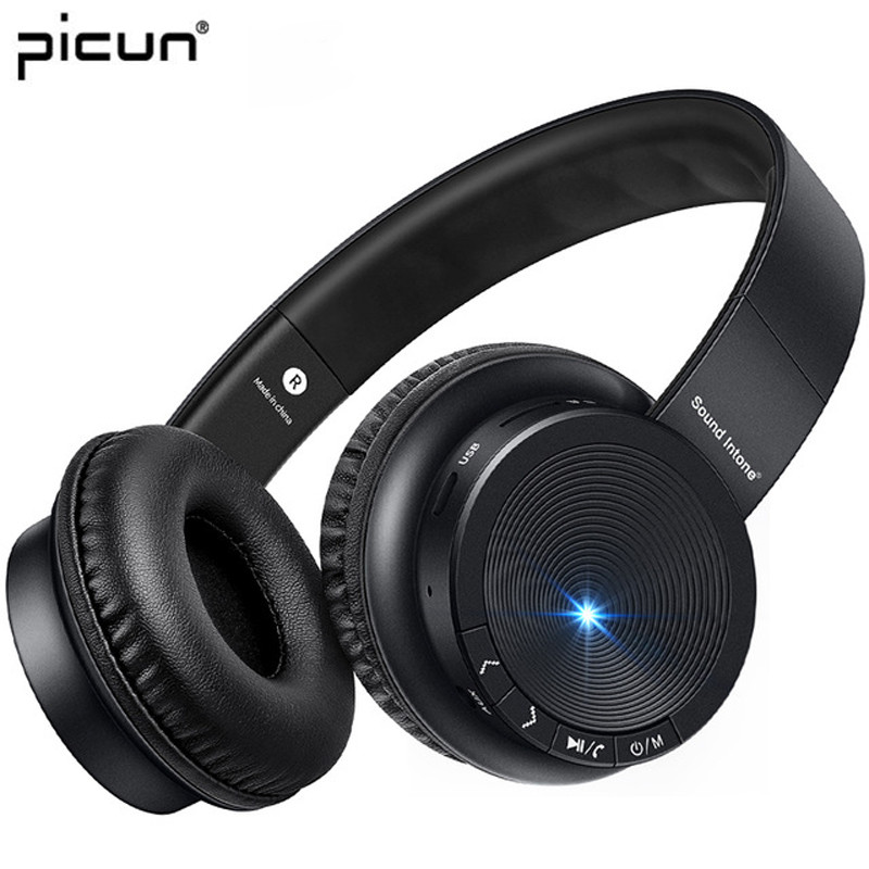 Picun P30 Foldable Wireless Bluetooth Earphone Bass Stereo Headphones Noise Cancelling Headset With Micro TF Card For PC Phones wireless bluetooth earphone headphones s9 sport earpiece headset with tf card slot 8g auriculares with micro for iphone android