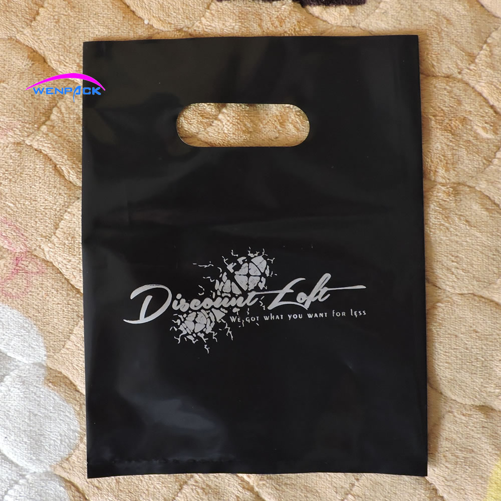 15x20cm custom shopping handle plastic gift bag for shoes packaging and promotion