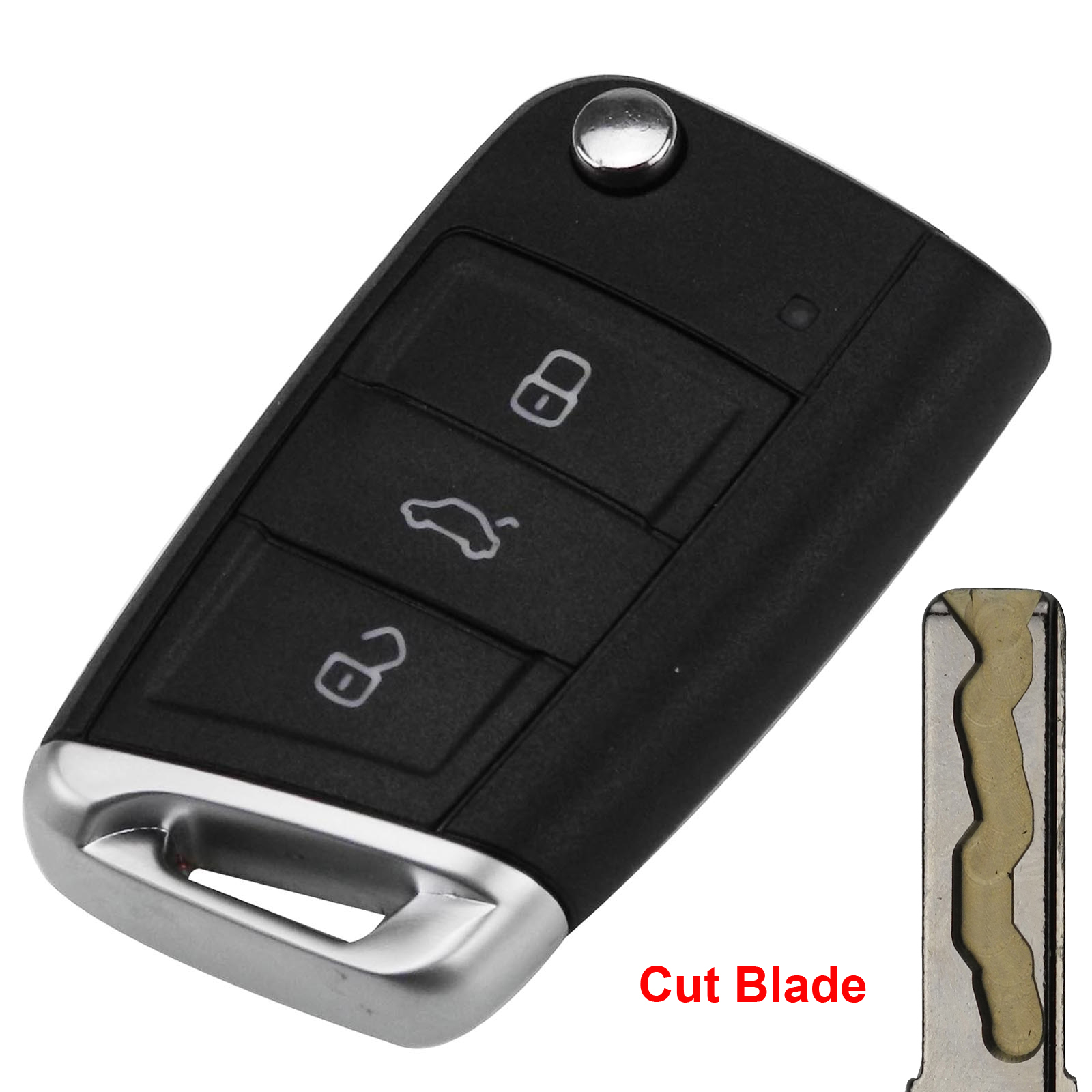 jingyuqin 3 Buttons Modified Cut Blade Folding Flip <font><b>Remote</b></font> <font><b>Key</b></font> Shell Case for VW Tiguan <font><b>Golf</b></font> <font><b>7</b></font> Jetta Passat Beetle Polo Bora image