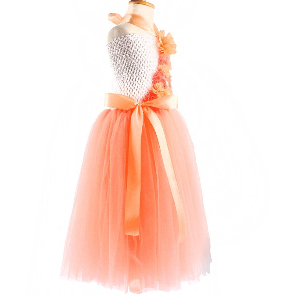 Pfirsich Blume Mädchen Tutu Kleid Weiß Hochzeit Foto Couture Kleid ...