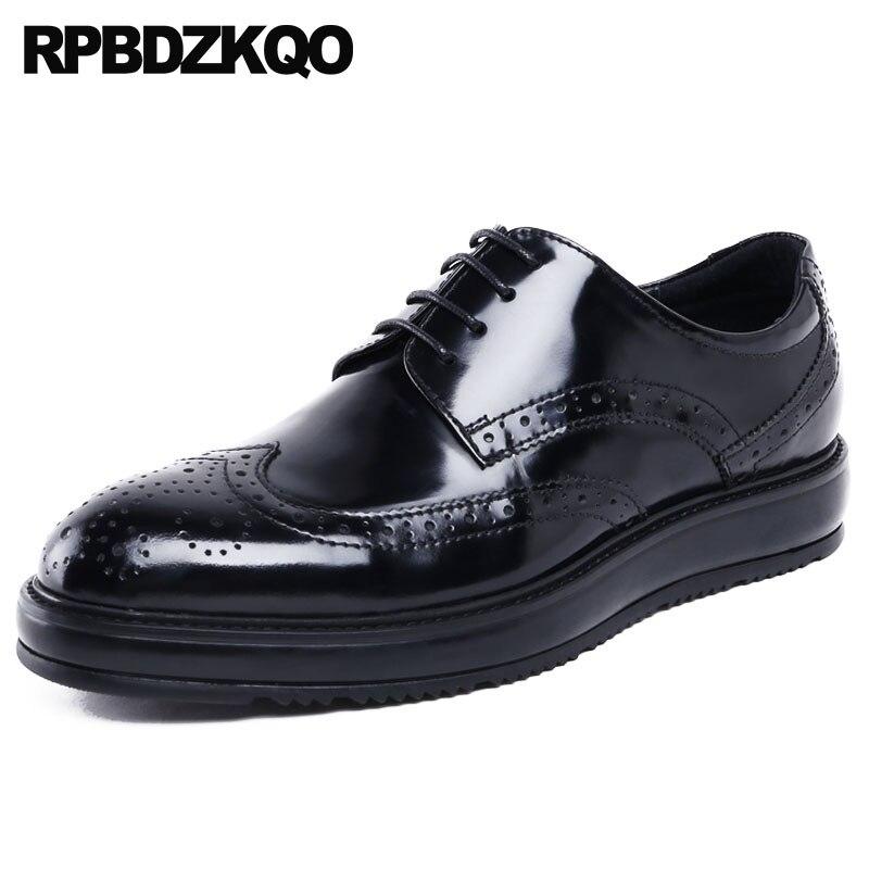 Musim semi Sepatu Merek Terkenal Ujung Sayap Buatan Tangan Platform Paten Kulit  Pria Brogue Oxfords Derby Mode Creepers Baru Hitam Italia di Sepatu Formal  ... efe809ec31