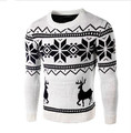 Sweaters Male 2017 Men O-Neck Long Sleeve Cotton Fashion Christmas Sweater with Deer Pattern Brand Clothing Slim Pullovers