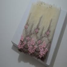 Somelace 19 см(2yds/lot) светильник желтый полупрозрачная Марля розовый коричневый смешанный цветочный вышивка ткани вышивка кружево trim18081111