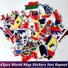 45pcs/Lot Map National Flag Cool Stickers Graffiti Skateboard Laptop Luggage Suitcase Car Moto Waterproof JMD Home Décor Sticker(China)