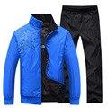 Hombres de la chaqueta y abrigos negro y azul reversible traje de Ropa Deportiva masculina Conjunto Chándal hombres Cremallera Basculador traje Bottoms Estiramiento Completo G94P