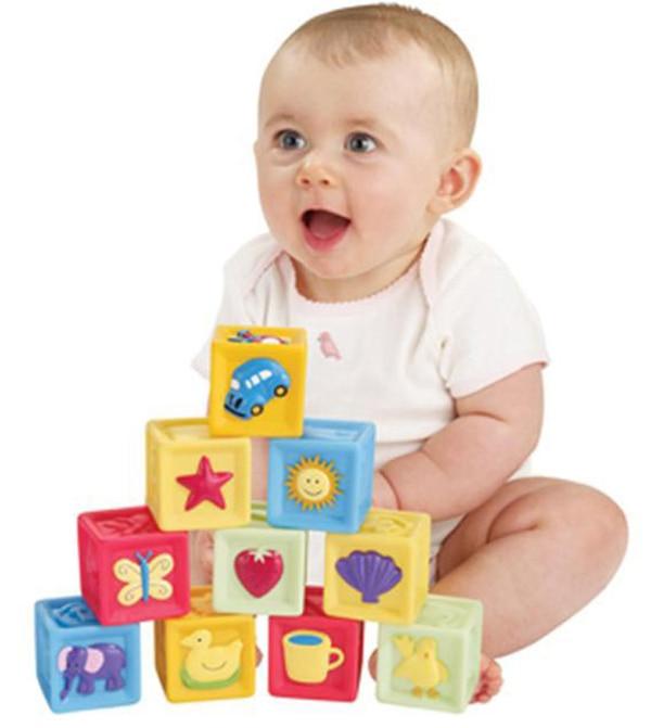 10pcs Plastic Kidsrattle Blocks Learning Educational Baby