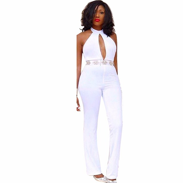 Free Shipping sleeveless women sexy hollow out bodysuit 2016 full length white bodycon bandage drawstring jumpsuit wholesale