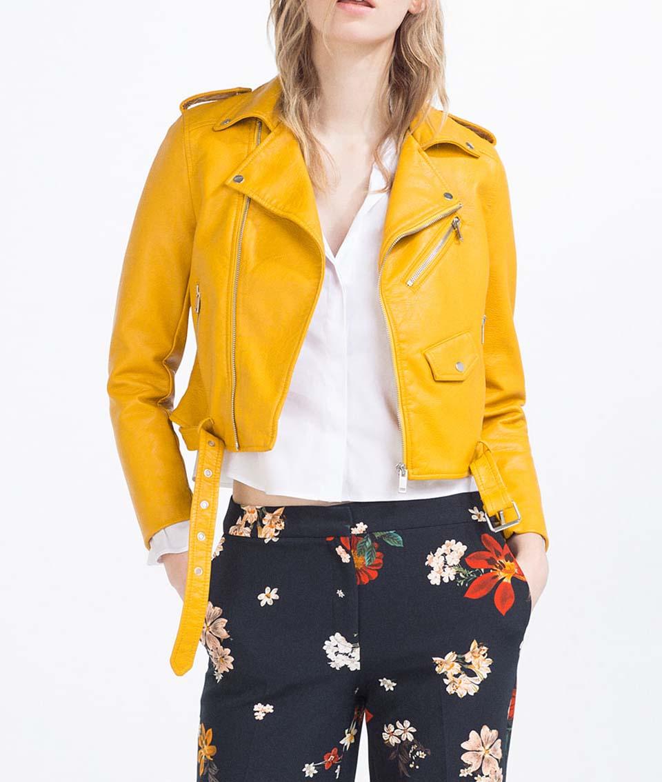Veste cuir femme jaune