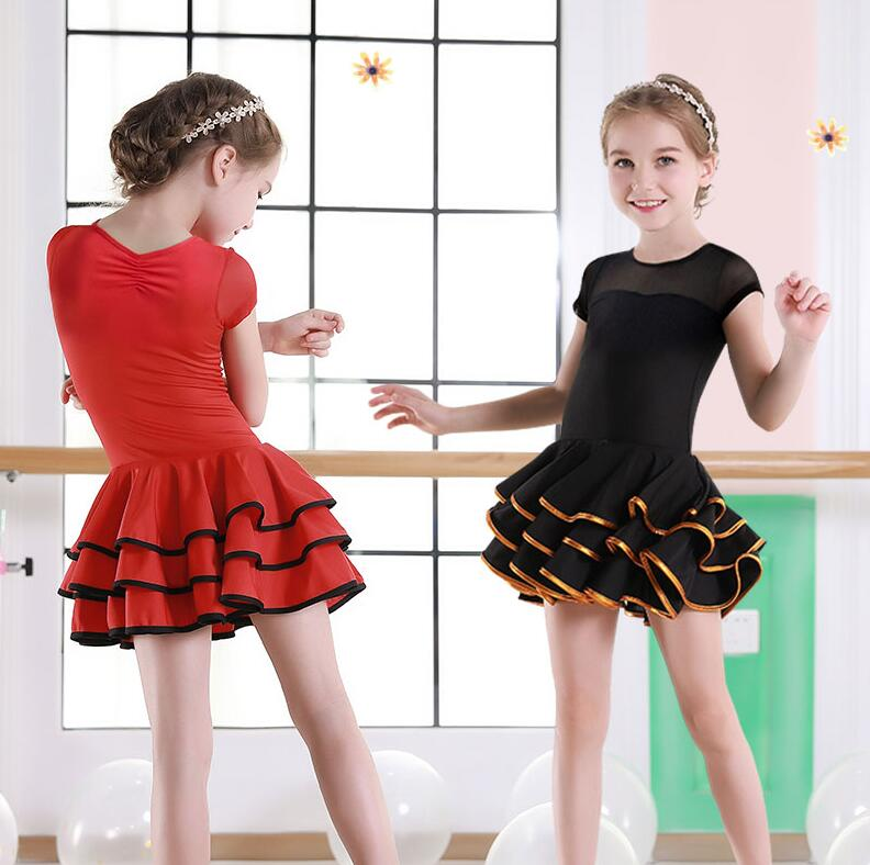 Ballroom Latin Dresses Dance Dress For Girls Salsa Dress Kids Rumba 2019 Children Spandex Samba Skirt Tango Competition Clothes