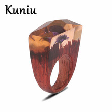 Фотография Fashion classic wood rings Women Mens Wedding jewelry Faceted Rectangle resin ring Dropshipping